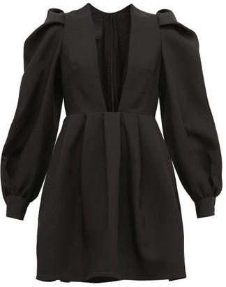 Valentino Plunge-neck Wool-blend Crepe Dress - Womens - Black