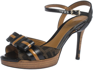 Fendi Black/Brown FF Monogram Canvas and Leather Bow Platform Sandals Size 36