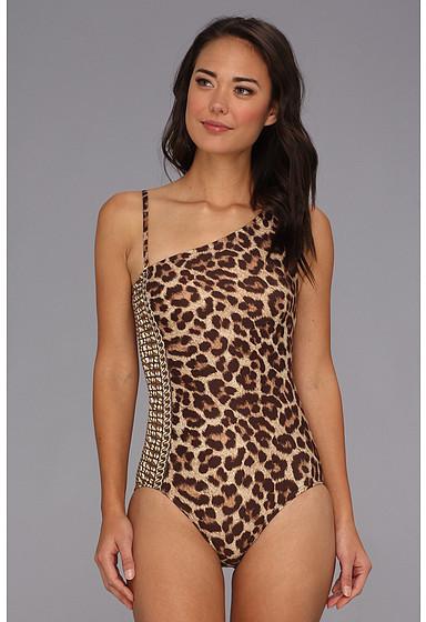 MICHAEL Michael Kors Tunisia Cheetah One Shoulder Side Shirred Maillot