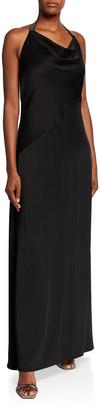 Brunello Cucinelli Silk Cady Cowl-Neck Halter Gown, Black