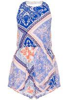Quiz Blue And Coral Tile Print Halterneck Playsuit