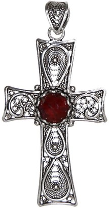 Artisan Crafted Sterling Filigree Gemstone Cross Pendant