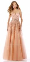 Nika Plunging V-Back Floral Rhinestone Embellished Evening Gown