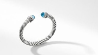David Yurman Cable Classic Collection Crossover Bracelet With Blue