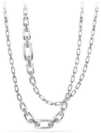 David Yurman Wellesley Sterling Silver Long Chain Necklace with Diamonds