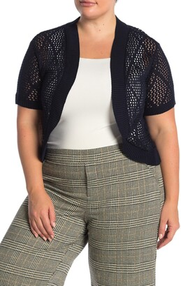 Nina Leonard Short Sleeve Diamond Knit Cardigan