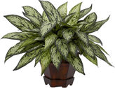 Asstd National Brand Nearly Natural Triple Silver Queen Faux-Silk Plant with Hexagon Vase