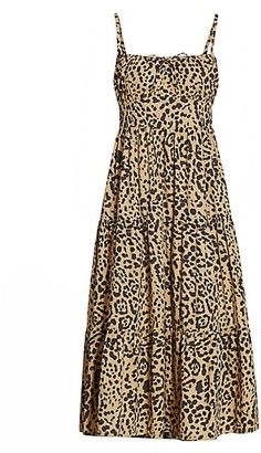 Faithfull The Brand Le Desert Alexia Animal Print Cotton Midi Dress