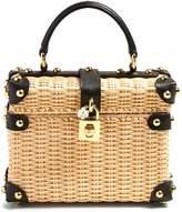 Dolce & Gabbana Leather-trimmed wicker basket bag