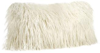One Kings Lane Vivian 12x22 Faux Fur Lumbar Pillow - Ivory Tibetan Lamb