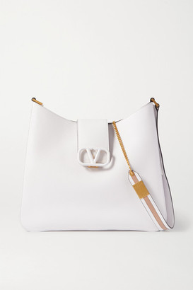 Valentino Garavani Vsling Textured-leather Shoulder Bag - White