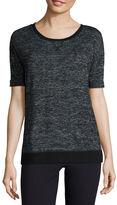 Liz Claiborne Elbow Sleeve Crew Neck T-Shirt-Womens