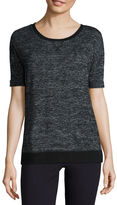 Liz Claiborne Elbow Sleeve Crew Neck T-Shirt
