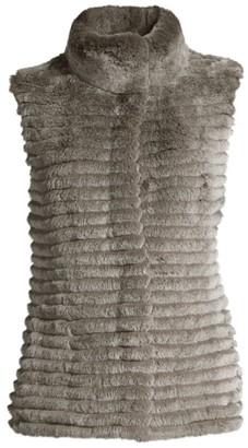 Glamour Puss Knit-Back Rabbit Fur Vest