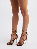 Charlotte Russe Peep Toe Tassel-Tie Sandals