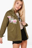 Boohoo Lucy Boutique Floral Embroidered Utility Jacket
