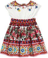 Dolce & Gabbana Mambo Print Cotton Jersey & Poplin Dress