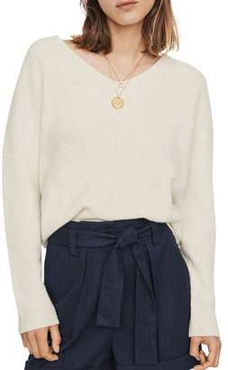 Maje Madina Ribbed Cashmere V-Neck Sweater