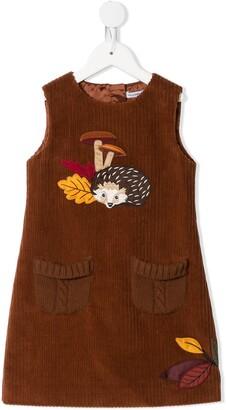 Dolce & Gabbana Kids Multi-Patch Detail Corduroy Dress
