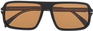 David Beckham Flat Top Rectangular Frame Sunglasses