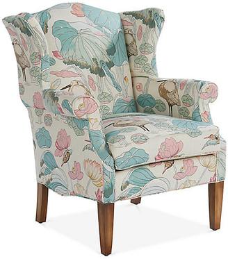 Michael Thomas Collection Bradford Wingback Chair - Aqua/Pink Linen