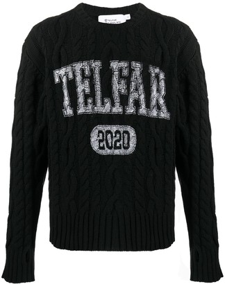 Telfar Cable Knit Logo Print Jumper