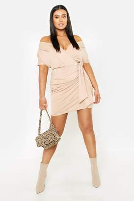 boohoo Plus Wrap Front Belted Crepe Dress