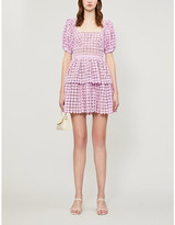 Self-Portrait Self Portrait Puffed-sleeve tiered heart-shaped lace mini dress
