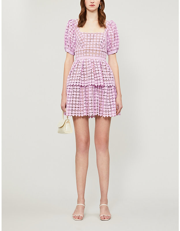 Self-Portrait Puffed-sleeve tiered heart-shaped lace mini dress