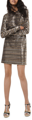 Michael Kors Sequined Chevron Shift Dress
