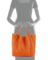 Neiman Marcus Stud-Trimmed Slouchy Italian Leather Tote Bag, Bright Orange
