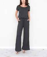 Egs By Eloges egs by eloges Women's Jumpsuits Charcoal - Charcoal Side-Pocket Tie-Waist Short-Sleeve Jumpsuit - Women & Plus