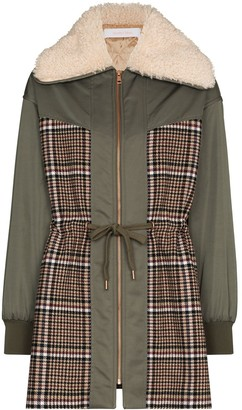 See by Chloe Check-Panel Zip-Up Parka Coat