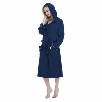 TOPEREUR Women Dressing Gown Fashion Solid Belt Knee-Length Cotton Sleepwear Hoodie Cardigan Pajamas Robe with Pockets Navy Blue