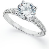X3 Certified Diamond Pave Solitaire Engagement Ring in 18k White Gold (2-1/2 ct. t.w.)
