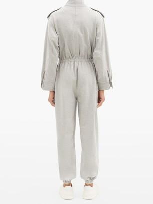 Norma Kamali Patch-pocket Cotton-blend Jersey Jumpsuit - Light Grey