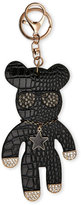 Natasha Black Croc-Embossed Bear Bag Charm/Keychain