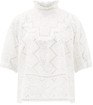 Sea Zippy Ruffle-neck Broderie-anglaise Blouse - Womens - White