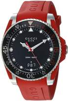 Gucci Quartz Stainless Steel and Rubber Casual Red Men's Watch(Model: YA136309)