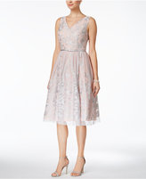 Jessica Howard Embroidered V-Neck Fit and Flare Dress