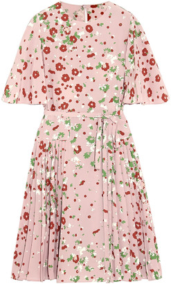 Valentino Pleated Floral-print Silk Crepe De Chine Dress