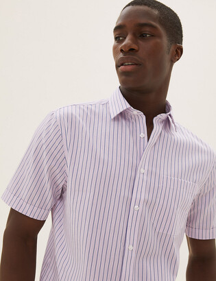 Marks and Spencer Pure Cotton Regular Fit Striped Short Sleeve Shirt