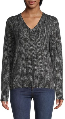 Amicale Chevron Cashmere Pullover