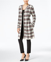 NY Collection Plaid Maxi Cardigan