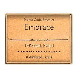Morse Code Bracelet 14k Gold Plated Beads on Silk Cord Secret Message Embrace Bracelet Gift Jewelry for Her
