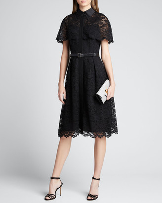 Rickie Freeman For Teri Jon Short-Sleeve Capelet Lace Belted Shirtdress
