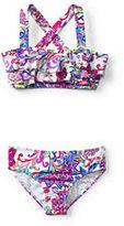 Lands' End Toddler Girls Bikini Swimsuit Set-Jewel Green Mosaic
