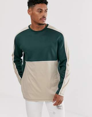 BEIGE Asos Design ASOS DESIGN relaxed long sleeve t-shirt with polytricot colour block in
