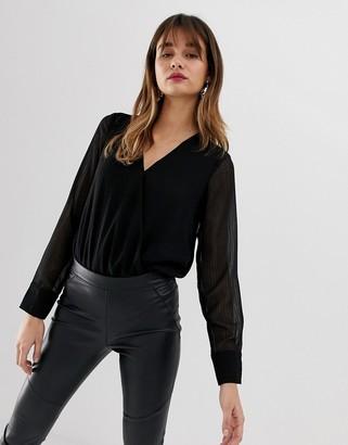 Vero Moda textured sheer black wrap body in black