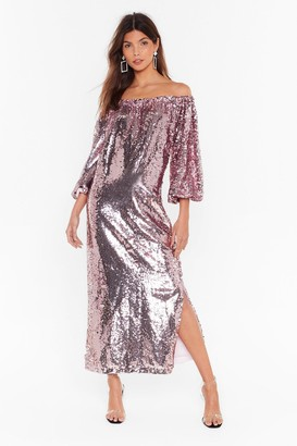 Nasty Gal Womens Ready for a Dance Off-the-Shoulder Sequin Dress - Pink - 4, Pink
